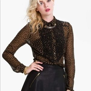 Free People All That Glitters button down blouse